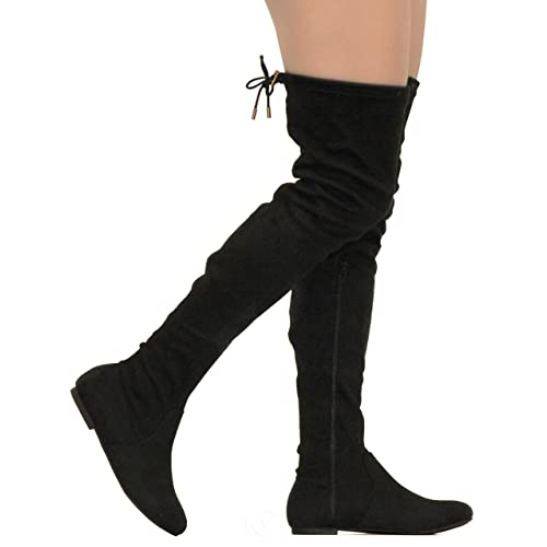 3b06c12bac3 MVE Shoes Women s Over-Knee Platform Boots - Easy On-Off Fashion Boots