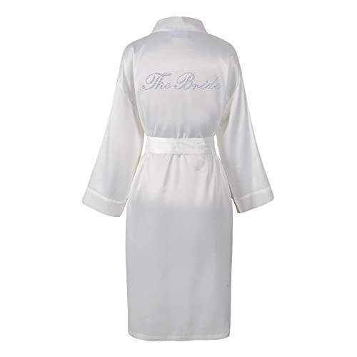 08e64b9f75 Ivory Varsany The Bride Satin Rhinestone Bathrobe Personalised Diamante Dressing  gown Kimono