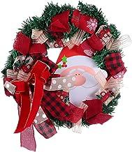 CLISPEED Santa Christmas Wreath Merry Christmas Bow Front Door Wreaths Decorations Xmas Holiday Home Decor