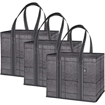 VENO 3 Pack Reusable Grocery Shopping Bag, Storage Box, Handy, Premium Quality, Heavy Duty Tote with Handles, Reinforced Bottom, Foldable, Collapsible, Made from Recycled Material (Black/Windowpane)