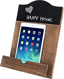 MyGift Rustic Burnt Wood Cookbook Stand with Chalkboard & Kickstand
