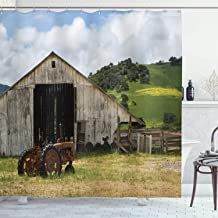 Ambesonne Farm House Decor Collection, Old Wooden Barn with Rusted Tractor on Hillside Enclosed with Wooden Fence and Trees, Polyester Fabric Bathroom Shower Curtain, 75 Inches Long, Green White