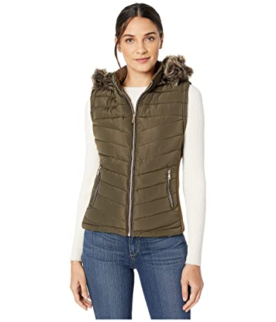 YMI Snobbish Polyfill Puffer Vest with Faux Fur Trim Hood (Olive) Women