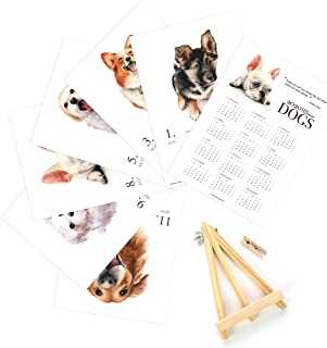 2020 Desk Calendar for Watercolor Wooden Display Easel Office (2020 Dogs)