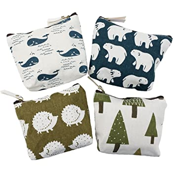 Seagulls Pattern Canvas Change Coin Purse Retro Money Bag with Zip