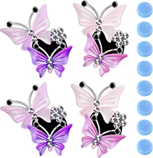 4 Pieces Car Aromatherapy Vent Clips Dual Butterfly Car Air Vent Freshener Perfume Clip Aroma Diffuser Decoration, Pink an...