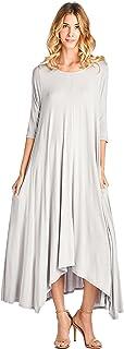 12 Ami Solid 3/4 Sleeve Pocket Loose Maxi Dress (S-3X) -...