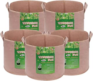 VIVOSUN 5-Pack 7 Gallons Heavy Duty Thickened Nonwoven Fabric Pots Grow Bags with Strap Handles Tan