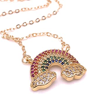 "Charm Rainbow Pendant Necklace for Women 18K Gold Plated Chain""18 Inches"" Length Novelty Jewelry"