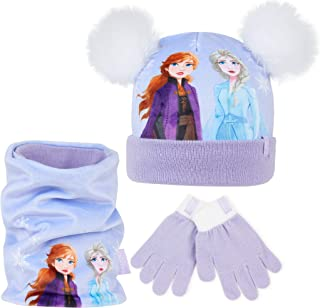 Disney Frozen Girls Hat Scarf And Gloves Set with Anna and Elsa, Frozen Accessories for Girls, Gift Idea for Winter