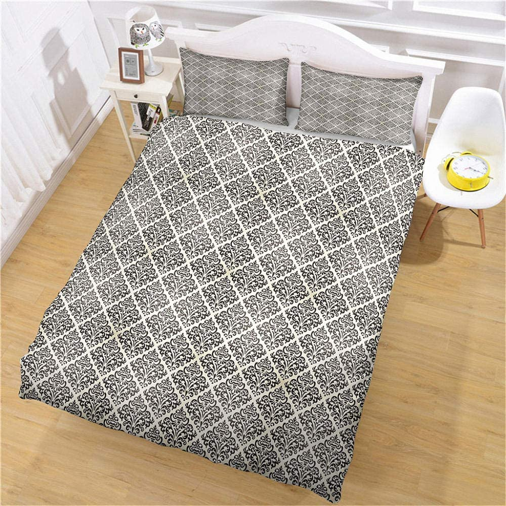HKDGHTHJ Duvet Cover Bedding Set Free shipping White Checkered Special price for a limited time and Black Patte