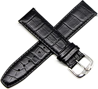 """Jacques Lemans 22MM Alligator Grain Genuine Leather Watch Strap 8"""" Black with Silver JL Initial Buckle"""