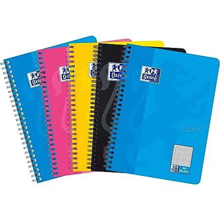 Clairefontaine 5 x Spiralbuch A4 kariert 112 Blatt farbig sortiert