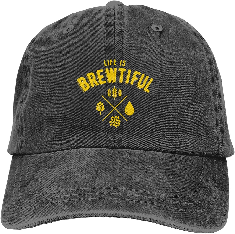 Denim Cap Life is Brewtiful Beer Baseball Dad Cap Classic Adjustable Casual Sports for Men Women Hats