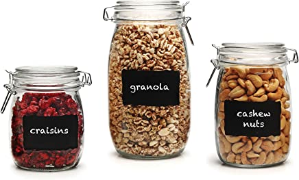 "Circleware 66870 Chalkboard Home Glass Canisters with Swing Top Hermetic Airtight Locking Lids Set of 3,  Kitchen Food Preserving Containers for Coffee,  Sugar,  Tea,  Cereal 5.5"",  6.5"",  8"" Clear"
