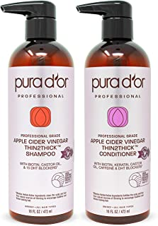 PURA D'OR Professional Grade Biotin Red Apple Cider Vinegar Thin2Thick Shampoo & Conditioner Set (16oz x 2) Keratin, Caffeine, Castor Oil Sulfate Free, Natural Ingredients: All Hair Types, Men & Women