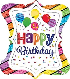 Amscan 3514601 Super Shape Happy Birthday Gestreifter Rand Foil Balloon, Multicoloured