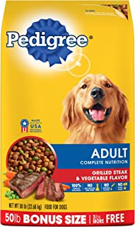 Pedigree Adult Grilled Steak and Vegetable Flavor Dry Dog Food 50 Pounds