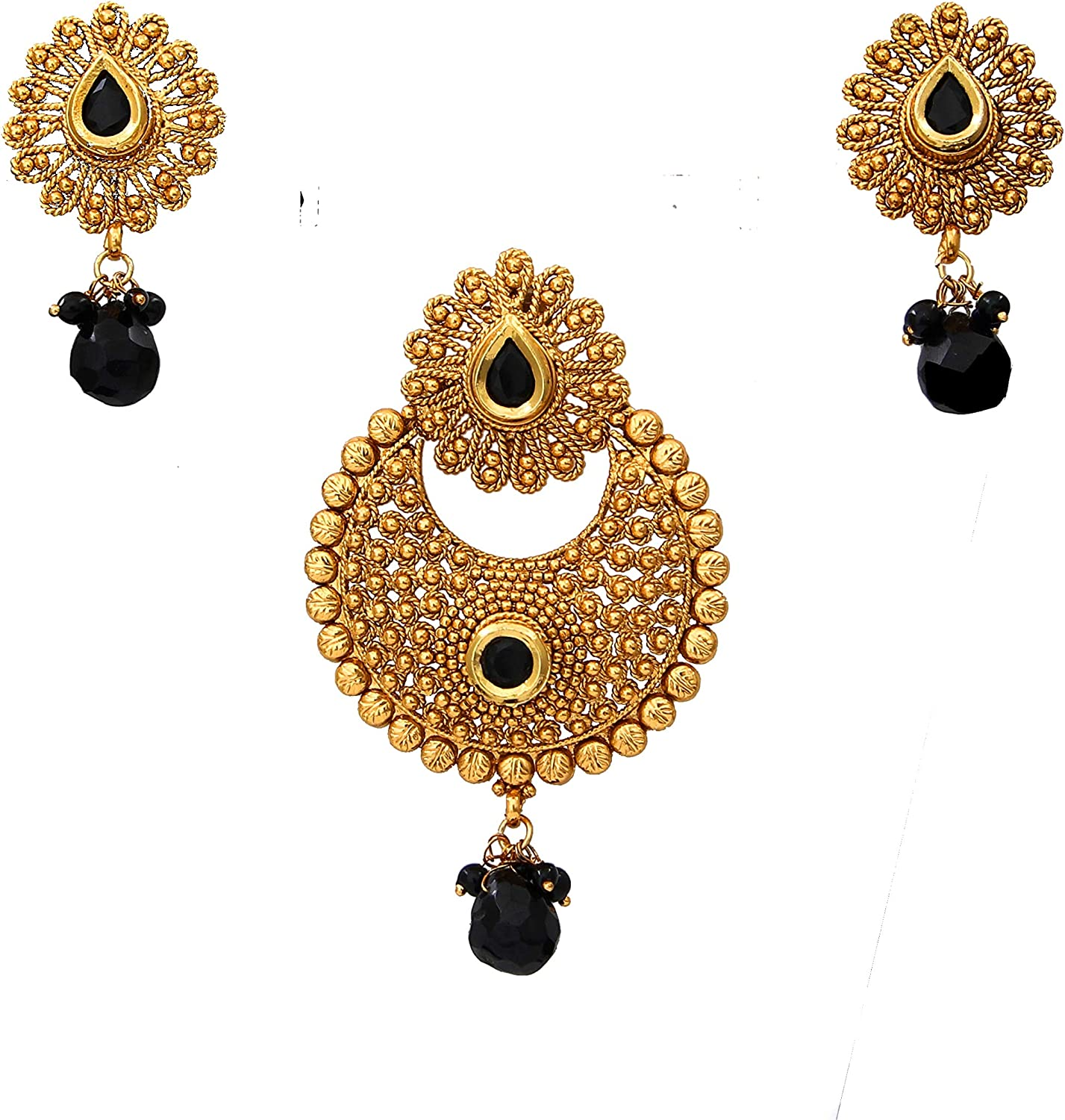 55Carat Women's Fancy Pendant Set Intricately Gold Plated with Modern Ethnic Design Earrings Designer Fashion Collection Jewellery Gift for Wife Sister Mother