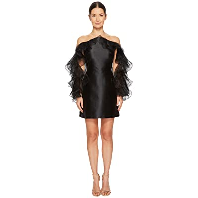 Marchesa Illusion Halter Cocktail in Mikado w/ Tulle and Organza Ruffle Sleeves (Black) Women