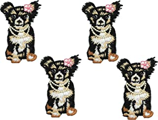 4Pcs Puppy Embroidered Small Animal Patch Floral Applique Sew on Patch Badge for Lace Fabric Clothes DIY Embroidery Patches