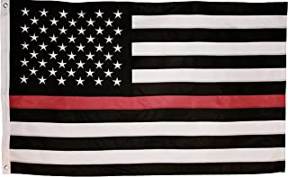 Best Thin Red Line Flag - 3X5 Foot with Embroidered Stars and Sewn Stripes - Black White and Red American Flag Honoring Firefighters and EMTs Review