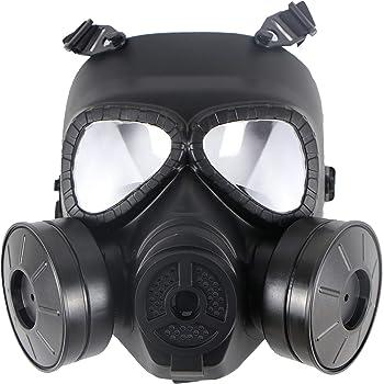 Sutekus タクティカル M04ガスマスク型 フルフェイスゴーグル フィルター機能なし 曇り防止ファン付き(ファン2個)