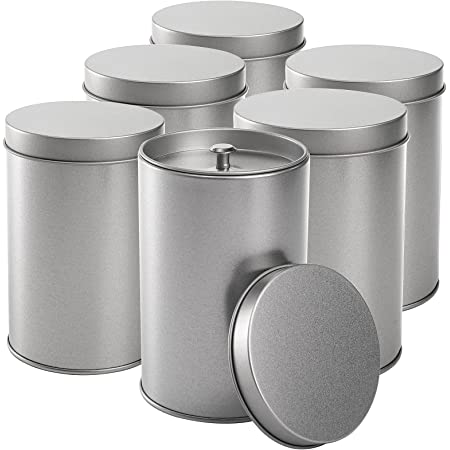 Yesland 6 Pack Tea Tin Canister with Airtight Double Lids, 12 Oz Tin Can Box and Small Round Kitchen Canisters for Loose Tea, Coffee, Candy, Herbs and Spices(Silver)
