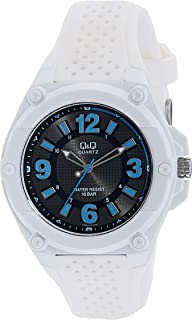 Q&Q Men's Black Dial Rubber Band Watch - VR50J005Y