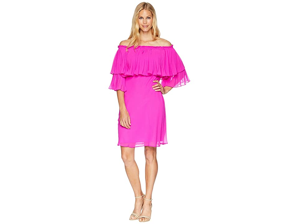 LAUREN Ralph Lauren 2E Poly Georgette Romina 3/4 Sleeve Day Dress (Paradise Pink) Women