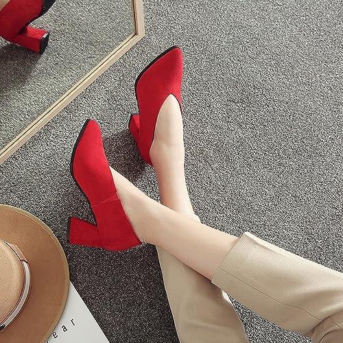 DIDIDD Printemps Au Début du Printemps Talons Hauts Chaussures Paresseuses en Cuir Chaussures Femmes Frougeter Rugueux avec OL Chaussures,Rouge 7cm avec,37
