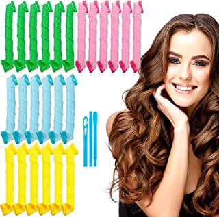 WHISKET - 7 pcs Hair Curlers Spiral Curls Styling Kit, DIY No Heat Wave Shape Hair Curlers for Long Hair, Magic Hair Rolle...