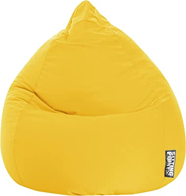 Gouchee Home Easy Collection Contemporary Polyester Microfiber Upholstered Plush Bean Bag Chair, Yellow