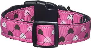 Mirage Pet Products Argyle Hearts Nylon Ribbon Collar for Pets, Medium, Bright Pink