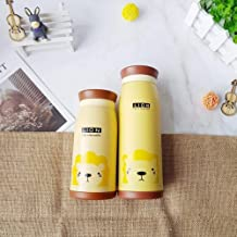 Cartoon Thermos Cup Kids Thermal Bottle Stainless Steel Vacuum Flask Cups with Lid Coffee Tea Termos Flask Children Belly Mug 500ml 350ml,Beige,350ml