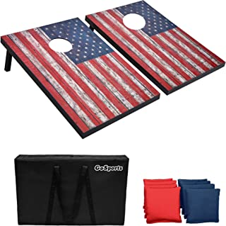 GoSports Classic Cornhole Set - Includes 8 Bean Bags, Travel Case and Game Rules (Choose between American Flag, Football, ...