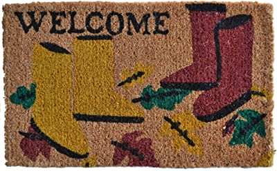Imports Decor Printed Coir Doormat, Garden Boots, 18-Inch by 30-Inch