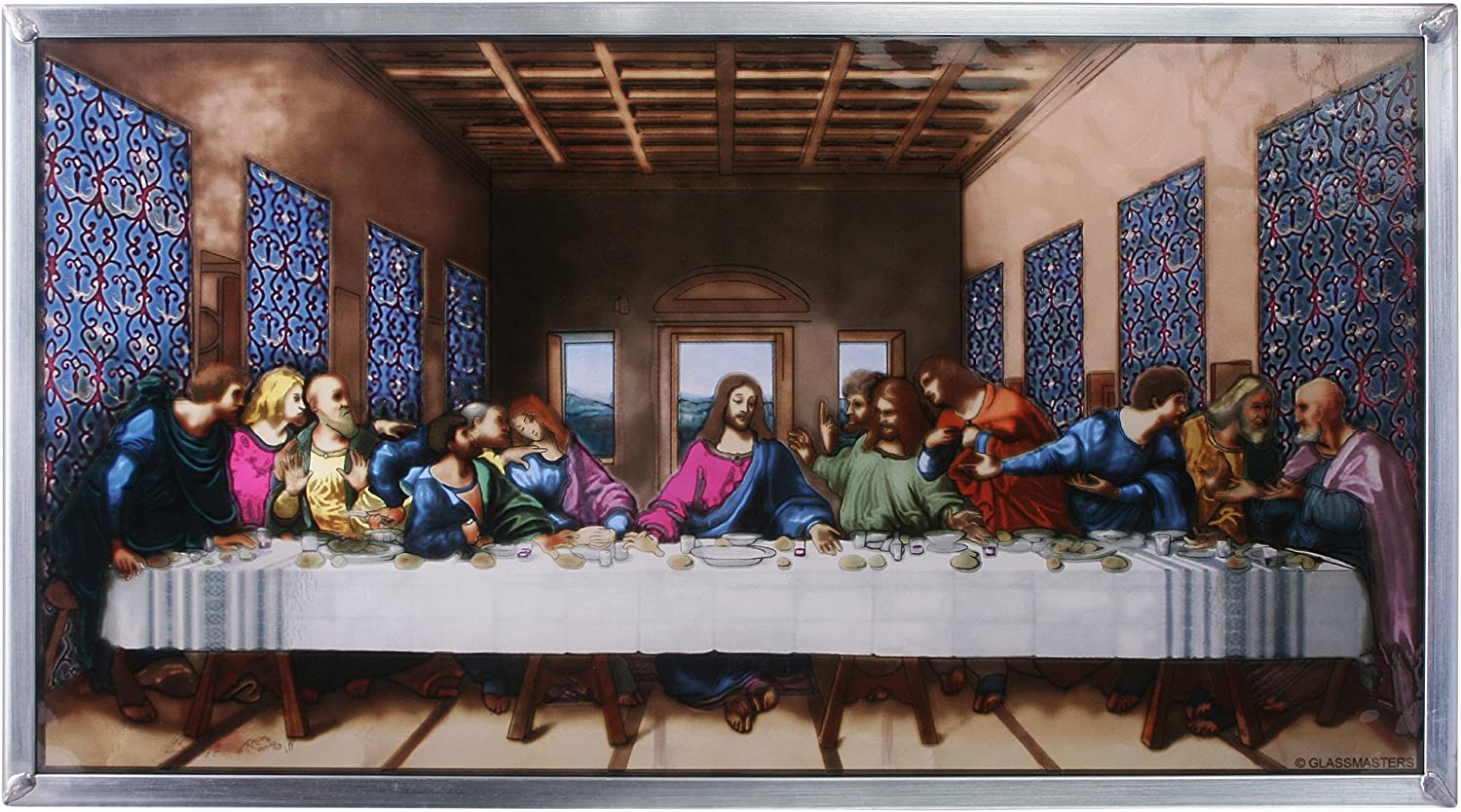 Stained Glass Panel - Da Vinci The Last Supper Stained Glass Window Hangings - Art Glass Window Treatments