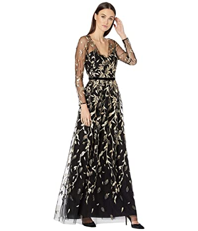 Marchesa Notte 3/4 Sleeve V-Neck Metallic Embroidered Gown with Velvet Ribbon Waist Trim and 3D Leaflets (Black/Gold) Women