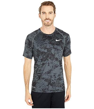 Nike Pro Top Short Sleeve Slim All Over Print (Iron Grey/White) Men