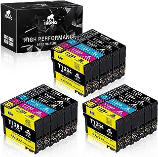 IKONG Compatible T1281 T1282 T1283 T1284 T1285 Cartuchos de Tinta, 18 Paquete, Trabajar con Stylus SX420W SX235W SX125 SX230 SX130 Office BX305FW Office BX305F SX445W SX440W SX430W S22