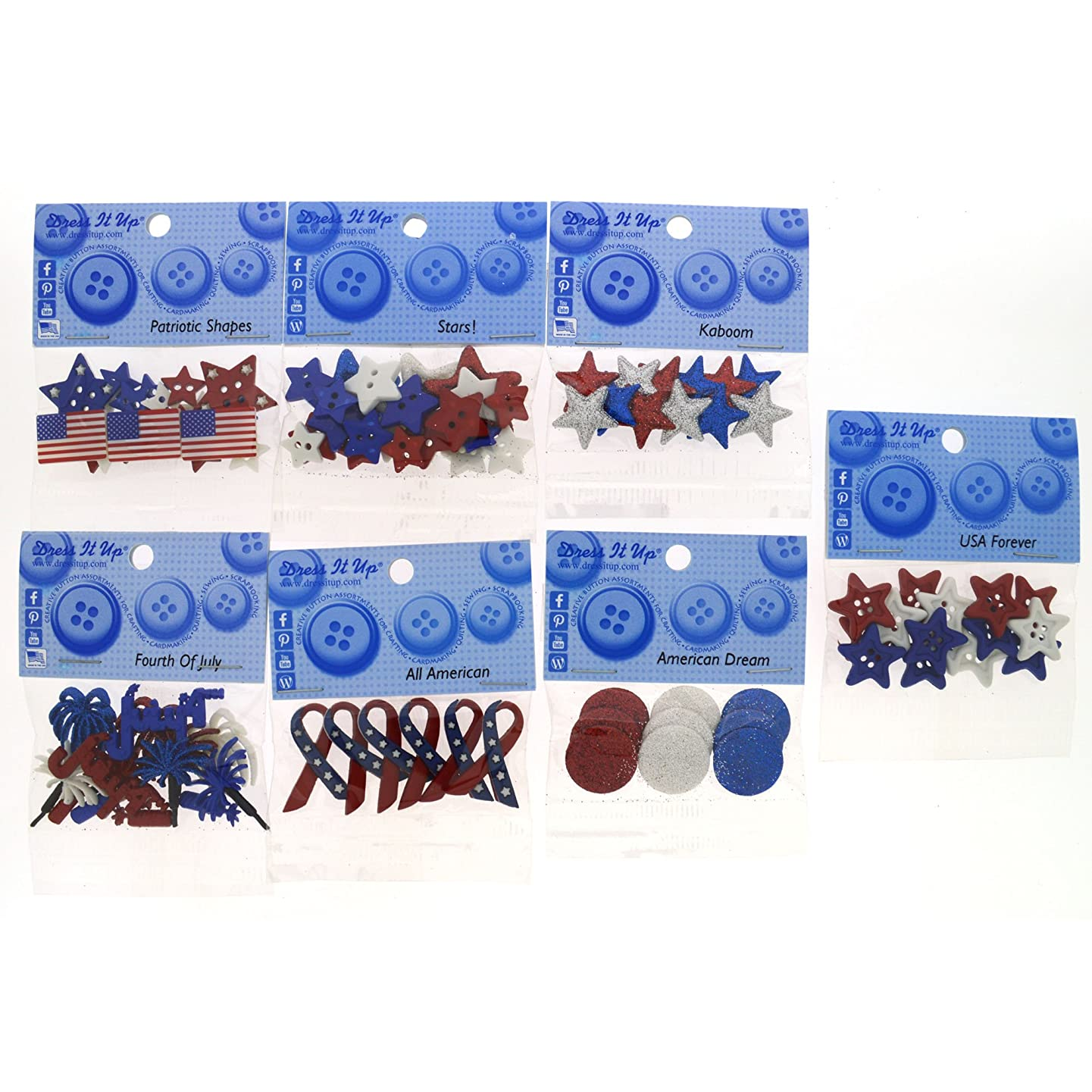 Dress It Up 9086 Patriotic Button Embellishment Assortment - 12 Pack - Includes Extra Free Button Embellishment Pack