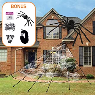Xtozon Halloween Giant Spider Web, 23x18 Ft Halloween Decorations Cobweb, Outdoor Creepy Decor Indoor Yard Haunted House Party Props with One Giant 30 Inch and 20 Small Fake Spiders