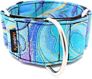 candyPet Collar Martingale para Perros - Modelo Ondas Azules (S: Ancho 4 cm (30-40cm diámetro))
