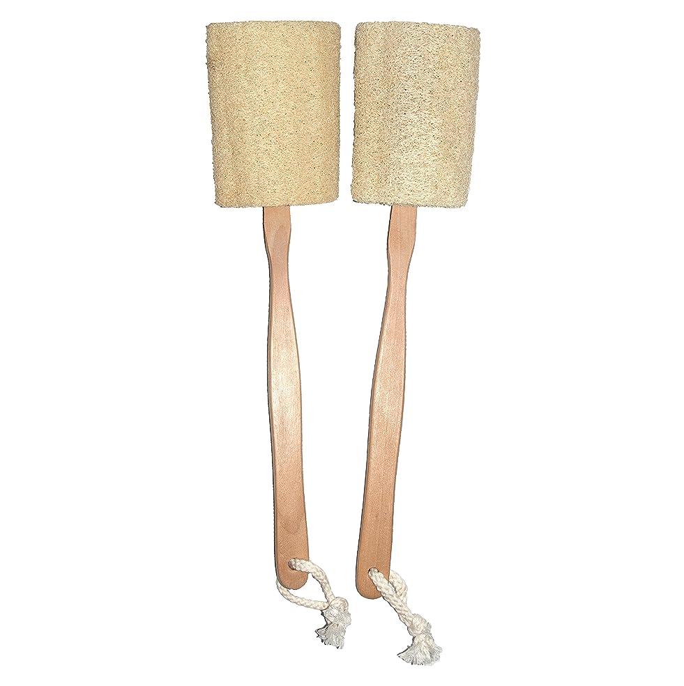 通知攻撃的ルーフNatural Exfoliating Loofah Luffa Loofa BackスポンジScrubberブラシ長い木製ハンドルスティックホルダーボディシャワーバスSpaパックof 2