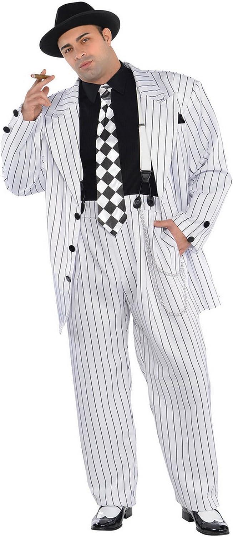 Karnevalsbud - Herren Hochwertiges Kostüm Pinstripe Daddy, Weiß, Größe M B074TFRVZF Das hochwertigste Material  | Großartig