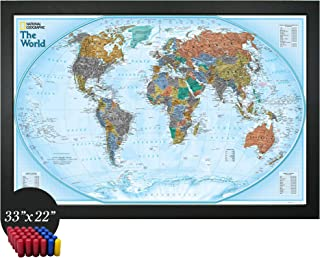 Home Magnetics National Geographic Interactive World Map Art   Framed Magnetic Geographic Map   30 Marker Pins Included (33x22)