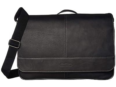 Kenneth Cole Reaction Colombian Leather 15 RFID Messenger Bag (Black) Handbags