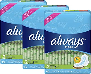 Always Maxi Feminine Pads with Wings for Women, Size 2, Long Super Absorbency, Unscented, 60 Count - Pack of 3 (180 Count Total)