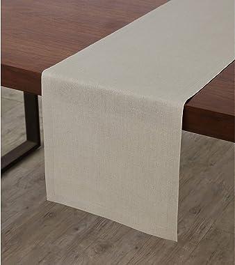 Solino Home Medium Weight Linen Table Runner - 100% Pure Linen - 14 x 90 Inch, Natural
